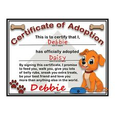 "Puppy Adoption Certificate with Pet Care Statement Printed on Cardstock 8.5""x11"""