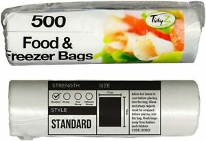 2 x 500 Strong Food Freezer Storage Bags Roll Fresh Fish Meat Lunch Sandwich UK