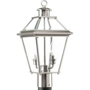 Burlington Collection 2-Light Outdoor Brushed Nickel Post Lantern by  Progress