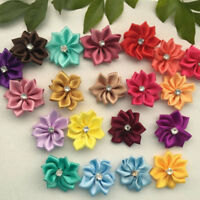 40x 28mm Upick satin ribbon flowers bows with Appliques Sewing Craft DIY Wedding