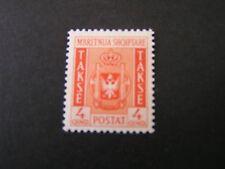 *ALBANIA, SCOTT # J40, 4q. VALUE RED ORANGE 1940 POSTAGE DUE COAT OF ARMS ISS MH