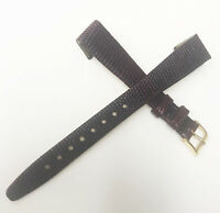Hirsch Genuine Lizard Burgundy Tone 14mm Leather Gold Buckle Watch Band