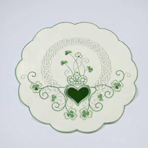 Irish St. Patrick's Day Cutwork Embroidery Celtic Knot Shamrocks Single Placemat