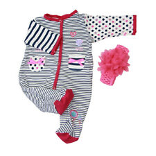 Striped Rompers Headband Suit Clothes for 22''-23'' Reborn Baby Girl Doll