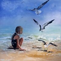 original oil painting girl  sea ocean beach seagulls