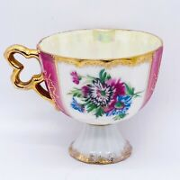 Vtg Japanese Hand Painted Gold Detailed Iridescent Footed Eggshell Porcelain Cup
