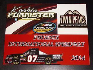 """2014 KORBIN FORRISTER #07 """"PHOENIX"""" TWIN PEAKS NASCAR POSTCARD"""