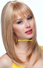 HUMAN HAIR BLEND LONG WITH BANGS BLEACH BLONDE MIX FULL WIG HAIR PIECE #F27.613
