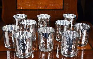6 Pieces Silver Effect Mercury Glass Tea Light Candle Holders Wedding Decor