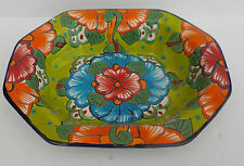 """MEXICAN POTTERY OCTAGON SERVING DISH 13 1/2"""" x 10 3/4 BOWL"""