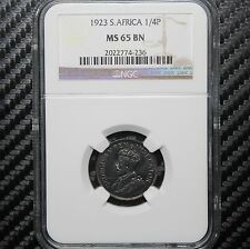 1923 South Africa 1/4 Penny NGC MS65 BN - Farthing (74236)
