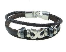 Leather Bracelet Unisex Celebrity Surfer Tribal Goth Friendship Black B29