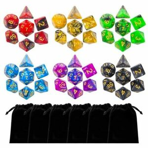 Lot of 42 DnD Dungeons And Dragons Dice 6 Sets with Pouch D&D Free Shipping
