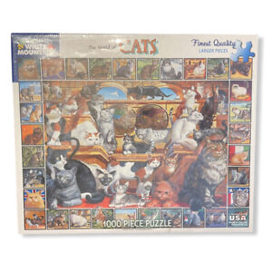 Brand New White Mountain The World Of Cats 1000 Large Piece Puzzle Made In USA