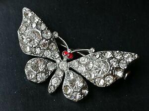 Vintage jewellery diamante butterfly brooch