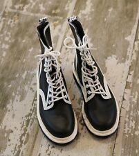 NWOB DR MARTENS Black White PIERRE Leather 10 Hole Boots US M 4 W 5 EUR 36 UK 3