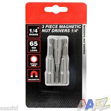 "3 Pc Magnetic 1/4 or 3/8"" Hex Socket Driver Bit 1/4"" Shank"