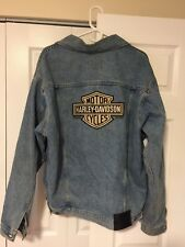 Women's Harley Davidson Logo Distressed Denim Jean Jacket SZ Large