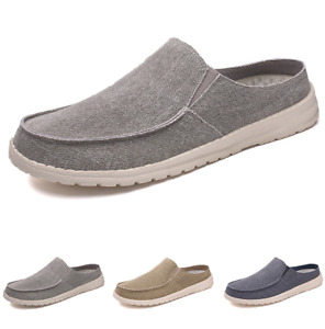 Mens Canvas Pumps Slip on Loafers Shoes Flats Driving Mocasins Breathable Chic D