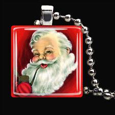 VINTAGE JOLLY Christmas Santa Claus Winter Snow Glass Tile Pendant Necklace