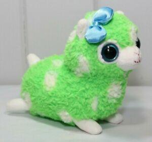 """Applause Russ 7"""" Plush Llama Alpaca Soft Beanie Saneon Green White Polka Dot Toy"""