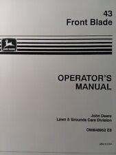 John 00004000  Deere 43 Dozer Front Blade 110 112 214 212 Lawn Garden Tractor Owner Manual