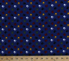 Finewale Corduroy Multi Paws Paw Prints on Blue Fabric By the Yard M724.03