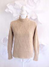 INIS MEAIN Aran Cable Turtleneck Sweater Pullover Sz S|2 Alpaca|Silk Beige LS