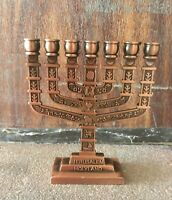 Jewish Blessed Menorah 7 Branches with 12 Tribes Of Israel Design Jerusalem Gift