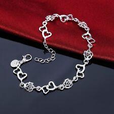 Neue Messing Versilbert Armband Herzen Rose Hand Kette Schmuck Für Frauen
