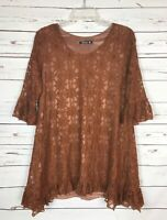 Adorn Boutique Women's S Small Brown Lace Floral Ruffle Tunic Top Shirt Blouse