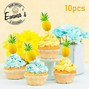 10PCS 3D Pineapples Kids Birthday Cupcake Toppers Picks Pineapple Cup Cakes