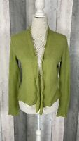 Magaschoni Green 100% Pure Cashmere Fine Knit Cardigan Size UK S