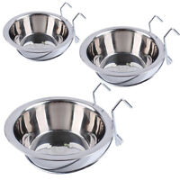 Stainless Steel Cage Coop Cup Bird Dog Cat Crate Food Water Bowl Hanger S M L