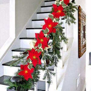 10LED Christmas Poinsettia Flowers Decor Garland String Lights Tree Ornaments 2m