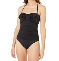 La Blanca Womens Swimwear Black Size 4 Ruffle Bandeau One-Piece $128- 760