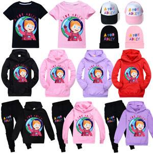 AFORADLEY Hoodie Hooded Sweatshirt T-Shirt Tracksuit Set Girls Baseball Cap