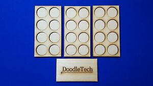 Laser cut MDF set of 3 Warhammer MOVEMENT TRAYS for 25mm round Bases LOTR 40K