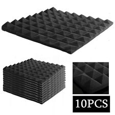 "10Packs Studio Acoustic Pyramid Foam Sound Absorption in Black 5"" x 20"" x 20"""