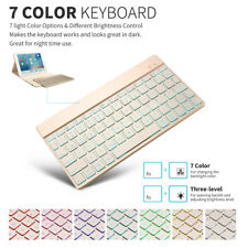 Gold 7 Color Backlit Aluminum Bluetooth Keyboard Keypad For Win Android iOS