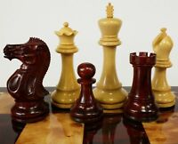 "4 QNS BLOOD ROSEWOOD 3 3/4"" Kg Anderssen Staunton Wood Chess Men Set - NO Board"