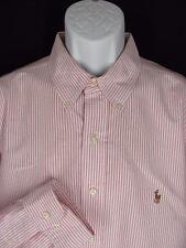 Ralph Lauren Dress Shirt 18-36/37 Classic White/Pink Stripe Button Down Collar