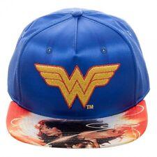 DC COMICS SATIN WONDER WOMAN LOGO SUBLIMATED FLAT BILL SNAPBACK HAT CAP RETRO