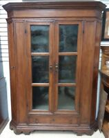 Antique French Walnut Armoire Cabinet Glass Canted 1800's Gun Rack Possible