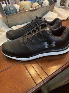 UA/Under Armour Golf Showdown SL Spikeless Black Leather 3021676-001 Size 11.5