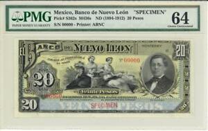 Mexico 20 Pesos Banco De Nuevo Leon 1894 Banknote - Specimen  PMG 64 CHOICE CU