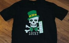 """LUCKY"" Skeleton Child Sz XS (4-5) T-Shirt Green Tee St Patties Day Shamrock"