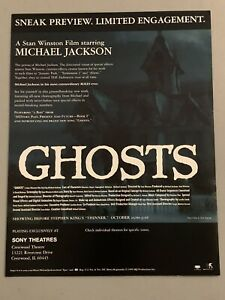 """Rare Michael Jackson Sneak Preview Ghosts Mini Poster 8.5"""" x 11"""" Limited"""