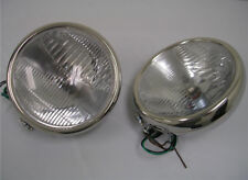 1932 Ford Stainless 12 Volt H4 Halogen Head Lamps 32 Headlights Glass Lens 10""