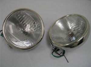 """1932 Ford Stainless 12 Volt H4 Halogen Head Lamps 32 Headlights Glass Lens 10"""""""